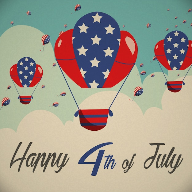 Fourth of july background with hot air\ balloons
