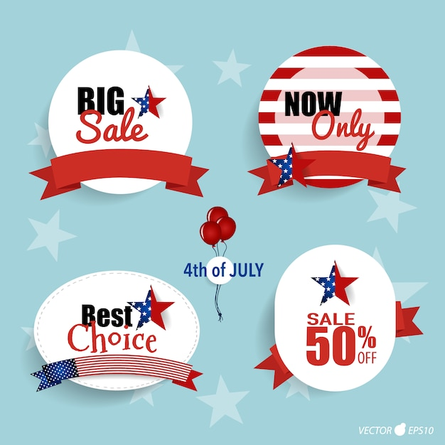 Fourth of july big sale labels
