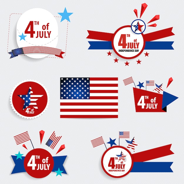 Fourth of july label collecti