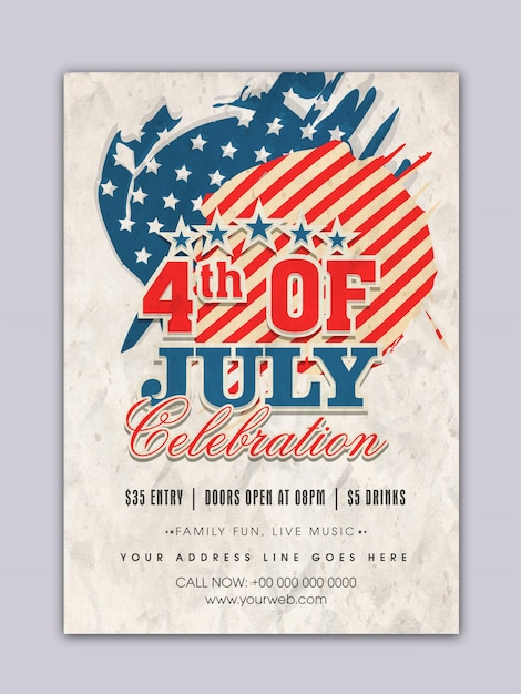 Fourth of july poster vintage desig