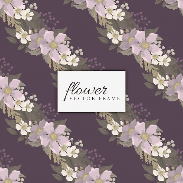 Fower page boarders - red, light blue, white flowers Free Vector