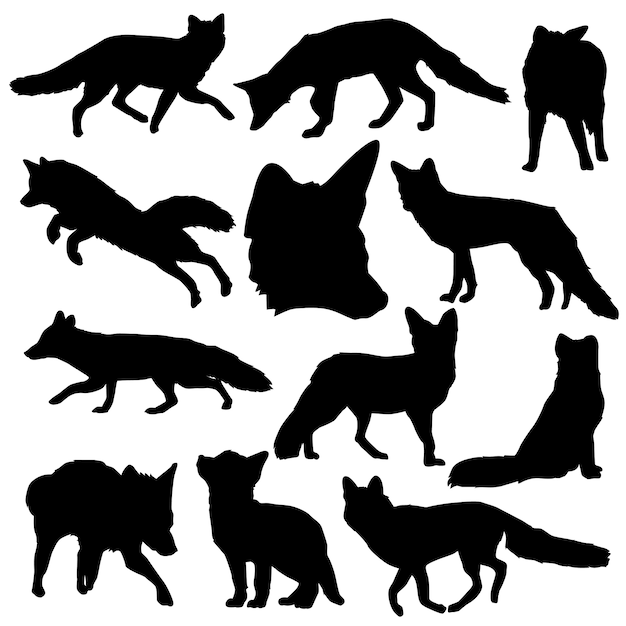 Fox animal forest clip art silhouette vector Premium Vector