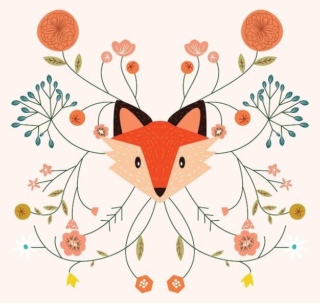 Fox autumn season Premium Vector