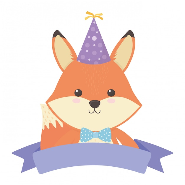 Fox cartoon with happy birthday Premium Vector