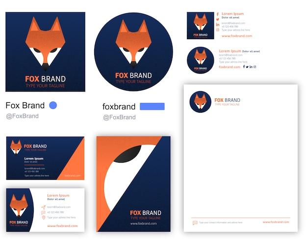 Fox company logotype including stationery Premium Vector