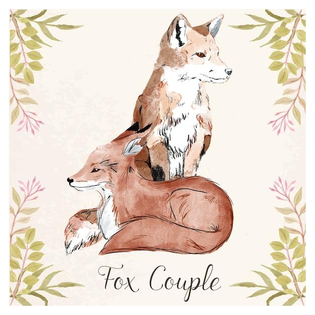 Fox couple Premium Vector
