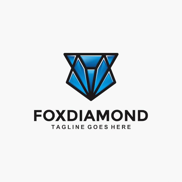 Fox diamond modern logo Premium Vector