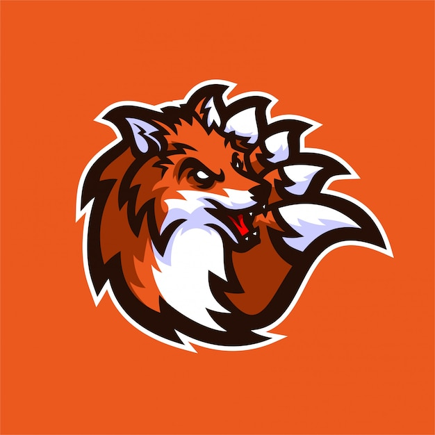 Fox esport gaming mascot logo template Premium Vector