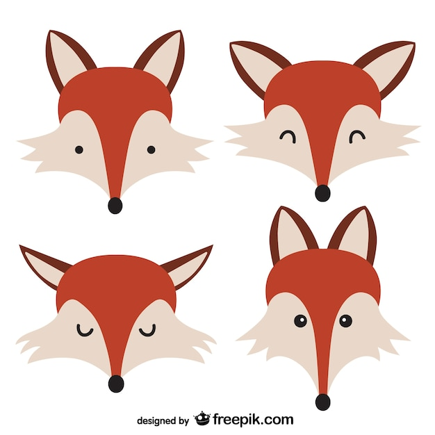 Aninimal Book: Fox faces Vector | Free Download
