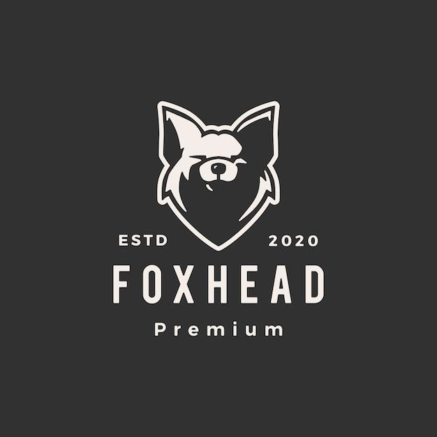 Фокс голова битник старинный логотип значок иллюстрации Premium векторы
