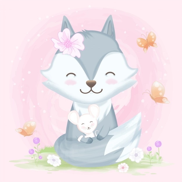 Fox hugging with mouse hand drawn animal Premium Vector