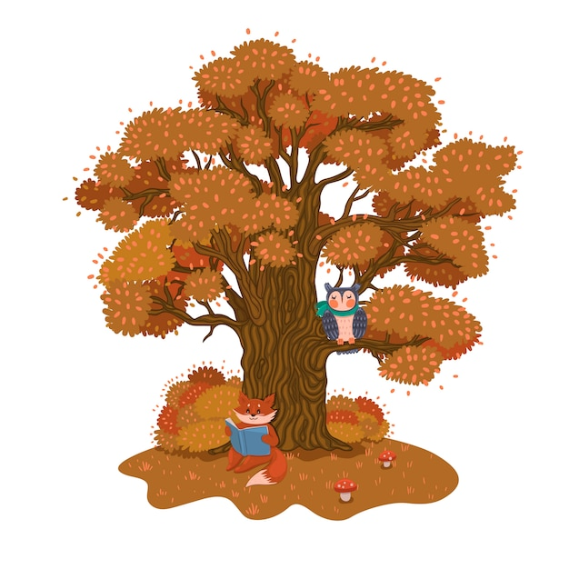 The fox is reading a book under a tree. autumn mood.  graphics. Premium Vector