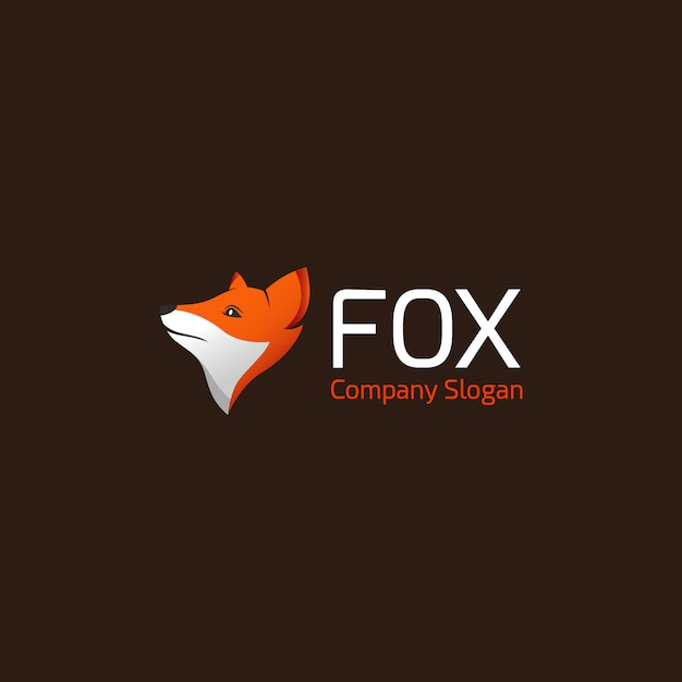Fox logo on brown background Free Vector