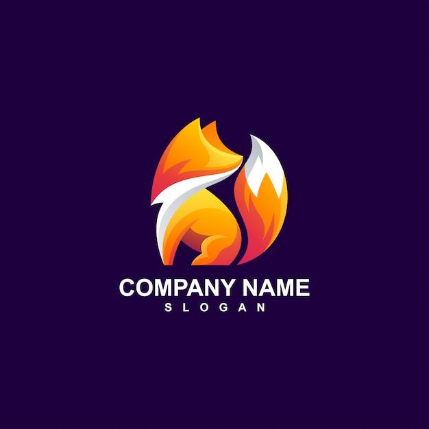 Фокс дизайн логотипа Premium векторы