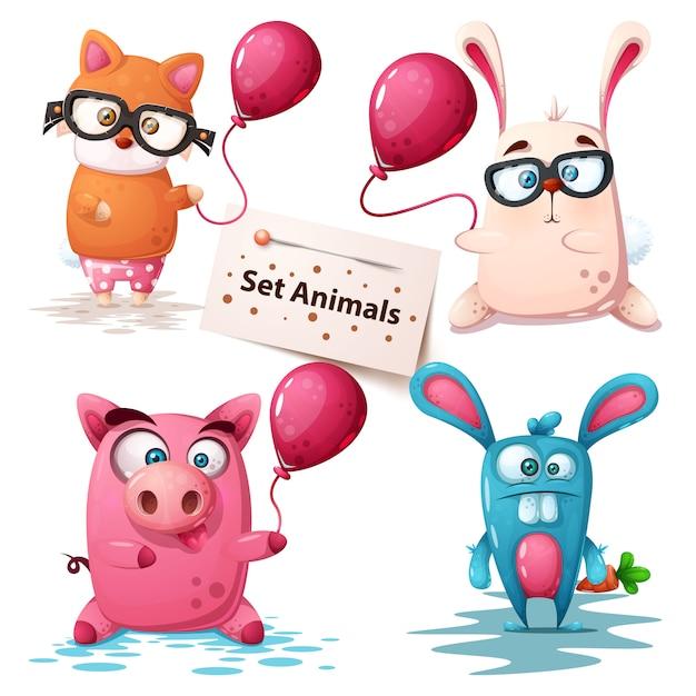 Fox, rabbit, pig - cute animals Premium Vector