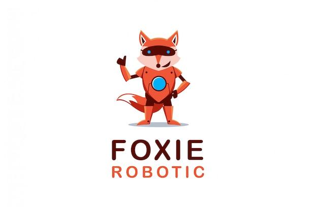 Fox robot logo mascot Premium Vector
