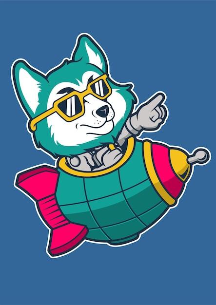 Fox rocket hand drawn illustration Premium Vector