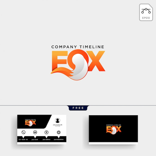 Fox tail logo template and business card Premium Vector