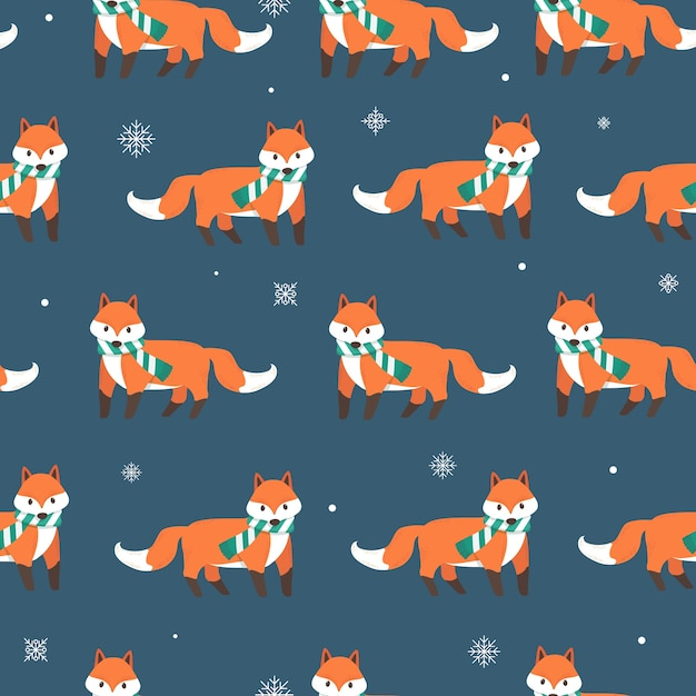 Fox with snow flakes seamless pattern background Premium Vector