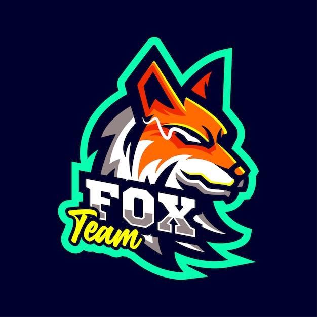 Лиса волк талисманы логотип спортивный стиль Premium векторы
