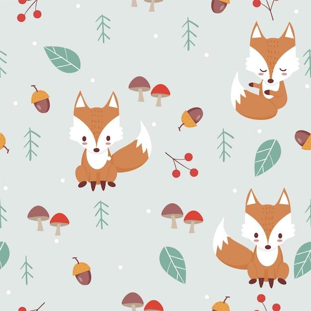Fox in woodland pattern Premium Vector