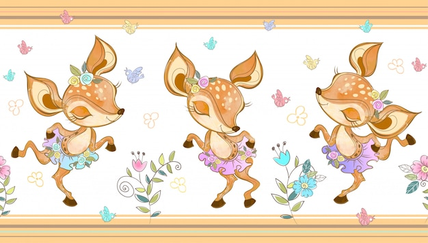Foxes ballerinas dancing. Premium Vector