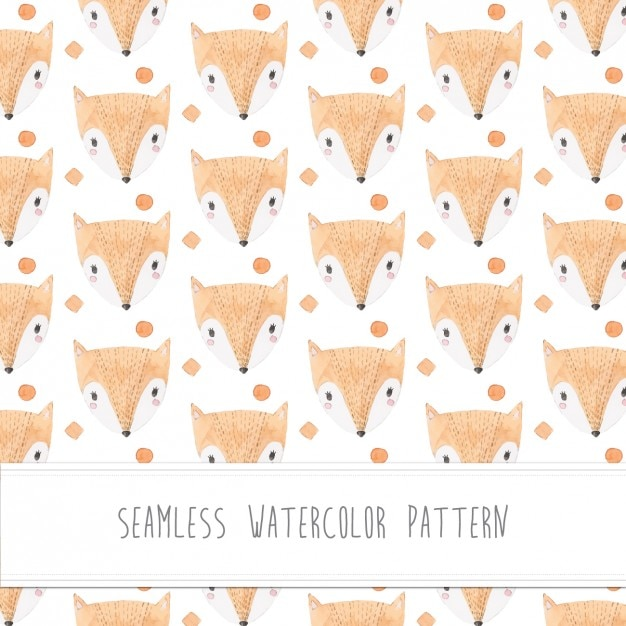 Foxes watercolor pattern Free Vector