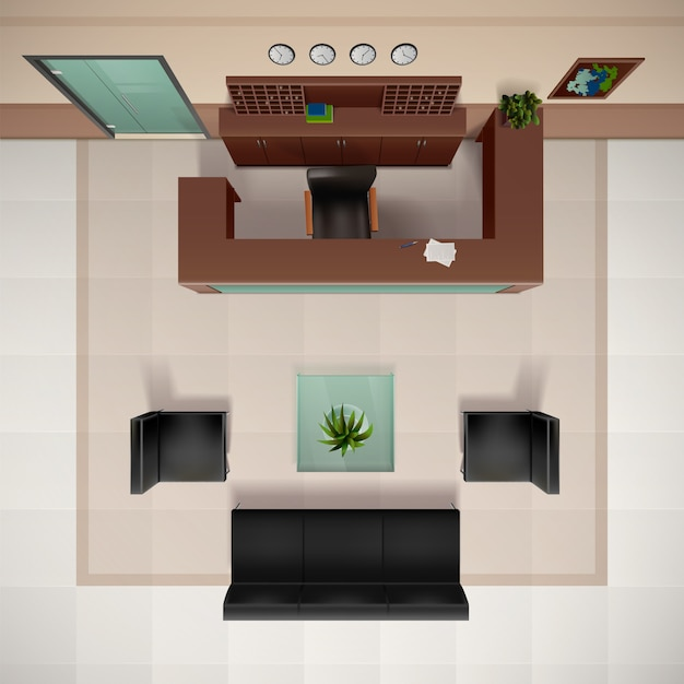 Foyer interior top view realistic background with chairs ...