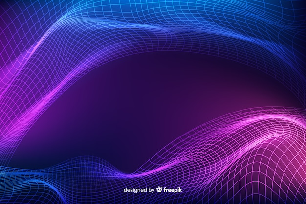 Fractal grid wave abstract background Free Vector