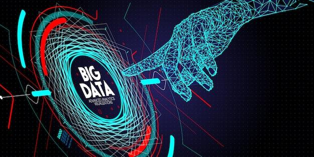 Низкий полигон касание рук передовые технологии и визуализация больших данных с помощью элемента fractal с массивом линий и точек. Premium векторы