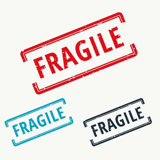 Fragile, rubber stamp Free Vector