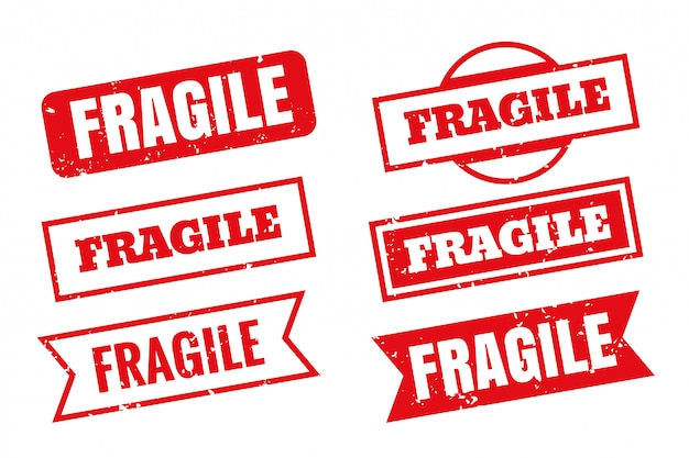 Timbri di gomma fragili in diversi stili impostati Vettore gratuito
