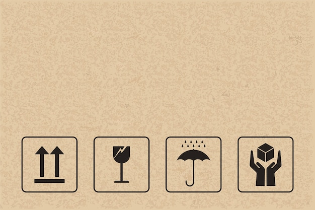 Fragile sign and symbol on brown paper. Premium Vector