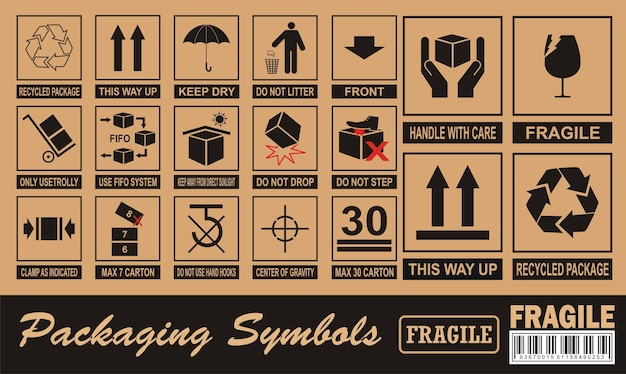 Fragile symbol on cardboard Premium Vector