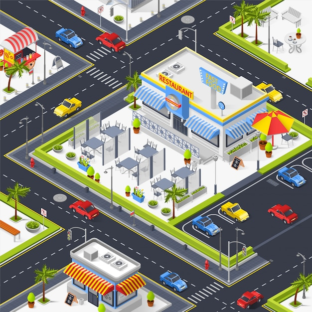Fragment of city landscape with street cafe Free Vector