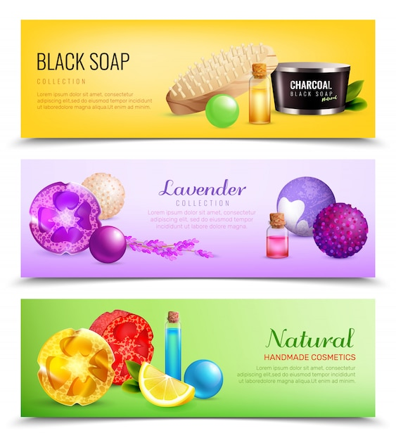 Fragrant soap banners collection Free Vector