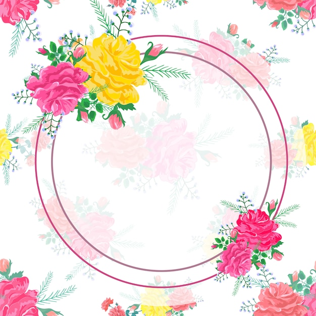 Frame abstract flowers rose Premium Vector