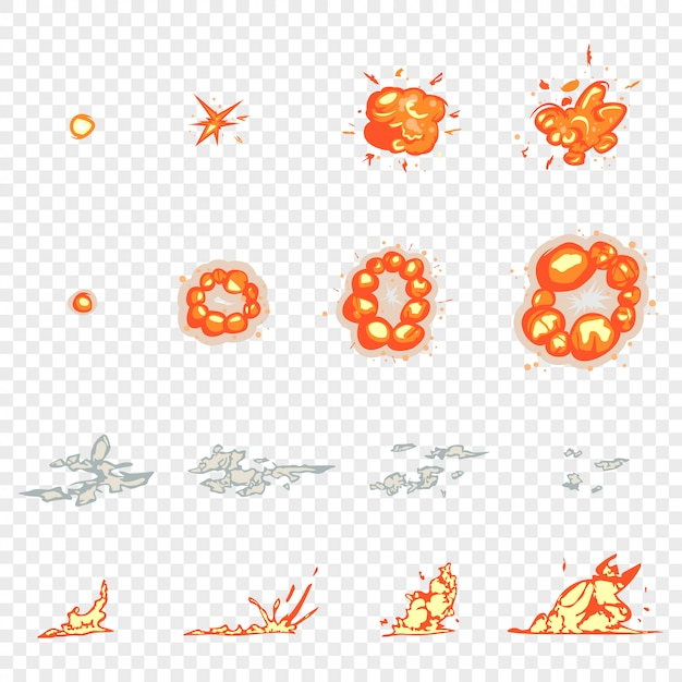 Frame animation, explosions and smoke cartoon set isolated transparent Premium Vector