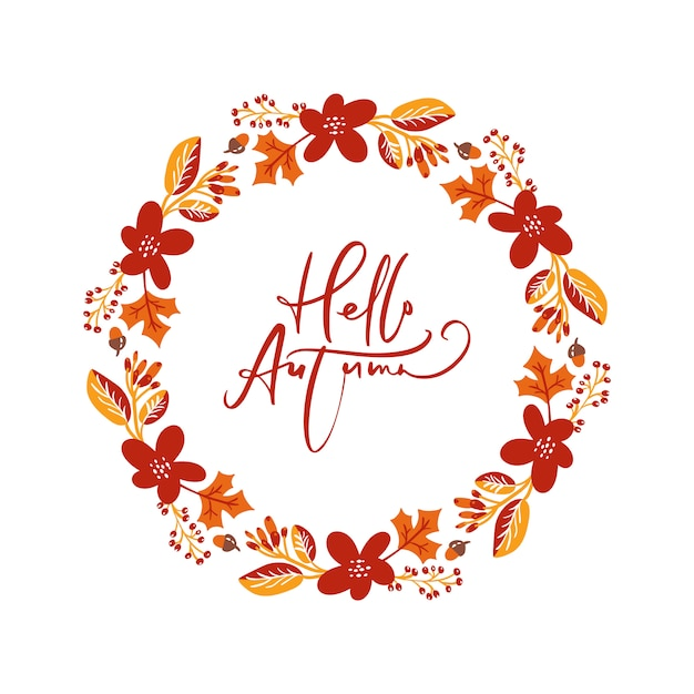 Frame autumn bouquet wreath. orange leaves, berries and pumpkin Premium Vector