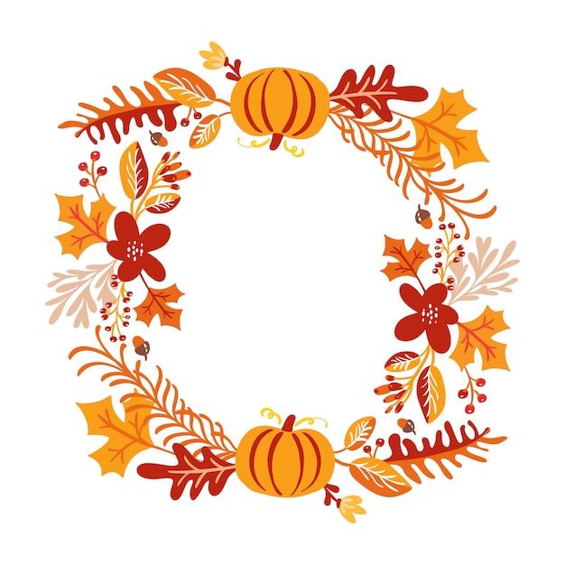 Frame of autumn bouquet wreath Premium Vector