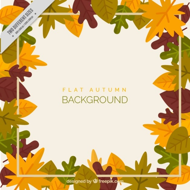 Frame autumn leaves, background Free Vector