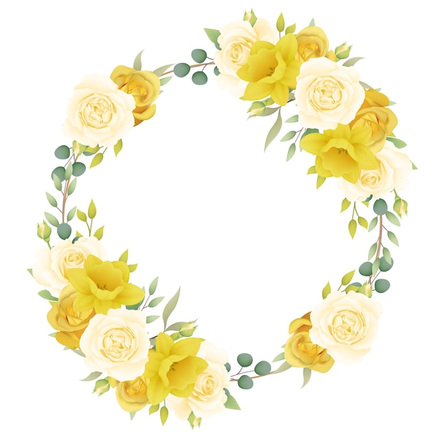 Frame background floral with roses and daffodils Premium Vector