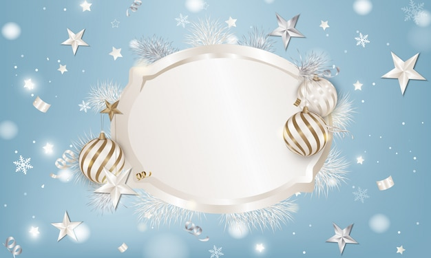 Frame background with christmas balls, white spruce branches, 3d stars, snowflakes, serpentine. Premium Vector