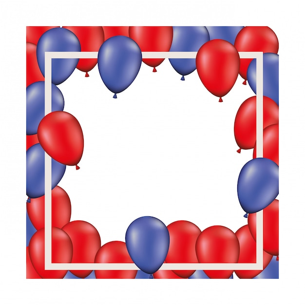 Frame background with red and blue balloons isolated Premium Vector