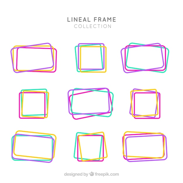 Frame collection with lineal style Free Vector