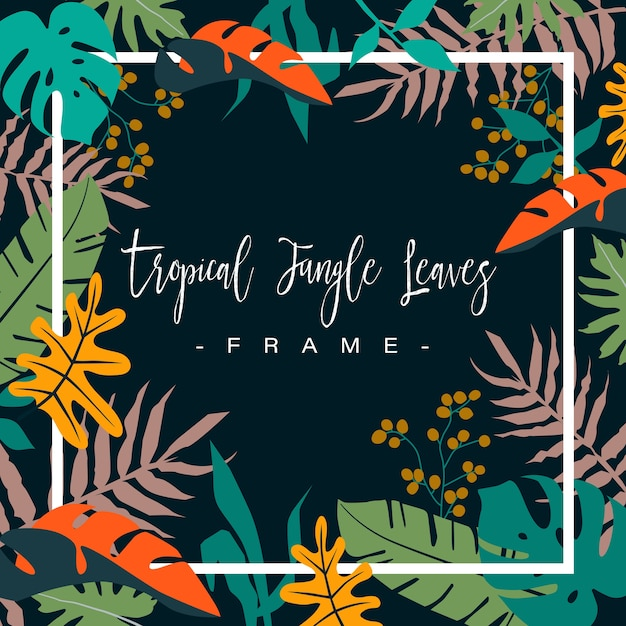 Premium Vector Frame Of Colorful Tropical Jungle Leaves On Dark Background Hello summer big sale social media stories hello summer greeting card invitation invitations with hand drawn palm leaves flowers flamingo bird and party flags tropical jungle design vector illustration background. https www freepik com profile preagreement getstarted 10365703