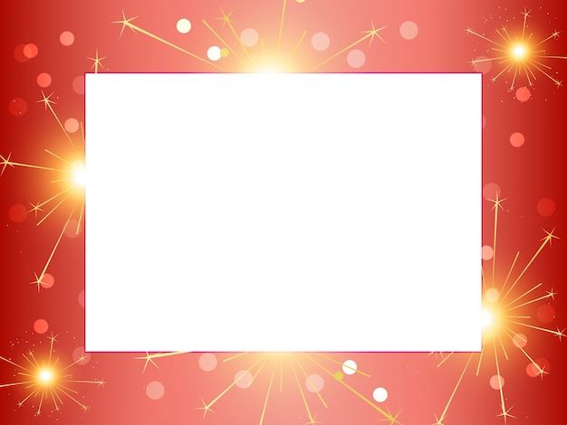 Frame concept with fireworks Free Vector