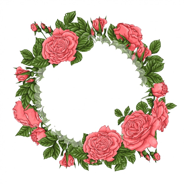 Frame of coral roses Premium Vector