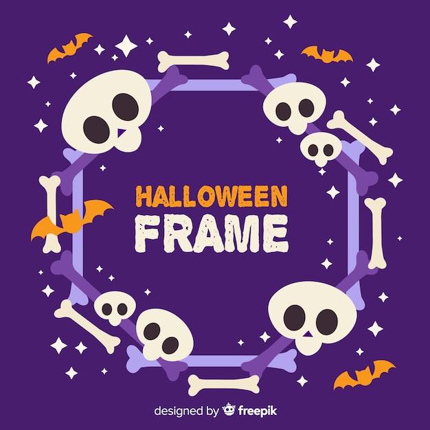 Frame of cute cartoon halloween skulls Free Vector