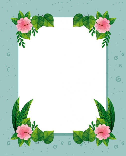Frame of cute pink flowers with leaves Free Vector